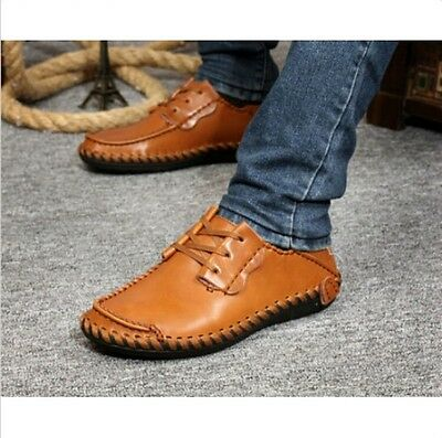 Mens Chic Casual Shoes Leather Lace up Driving Flats Soft Sole Moccasins Sneaker