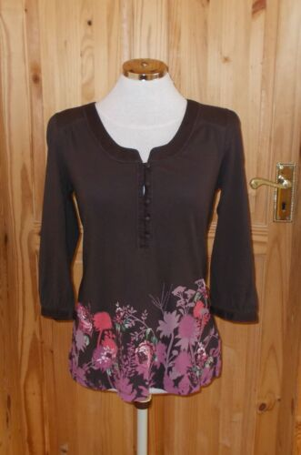3 12 40 Chocolate 4 Brown Monsoon Green brodée Floral Pink tunique à manches Tunique Bt7qUw