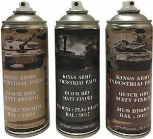 Kings-Army-Spray-Paint-Cans-400ml-Desert-Camo-Pack-Military-paintball-airsoft