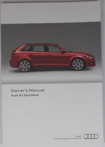 new genuine audi a3 8p sportback owners manual handbook 11 2012 rh ebay ie audi a3 owners manual 2015 audi a3 owners manual 2015