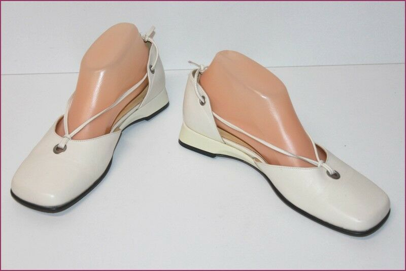 JB MARTIN Leather Court shoes Off-white Tips Semi Square T 4.5 t 38.5