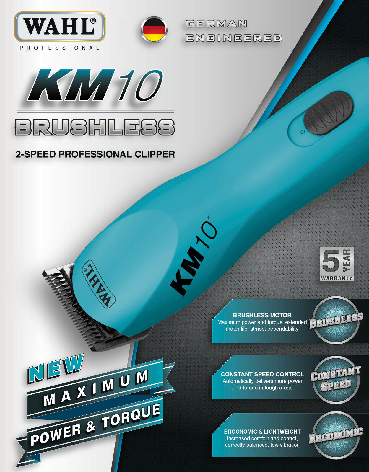Wahl KM10 Pulizia Kit CLIPPER&5 Blades& 8 Pc Metallo Metallo Metallo Allegato Pettine Set 3e01f0