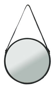 Specchio Tondo Da Parete.Specchio Rotondo Da Parete Kuze Bordo Ferro Cintura Cuoio 2 Misure