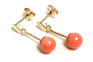 9ct-Gold-Coral-ball-drop-Earrings-Gift-Boxed-Made-in-UK