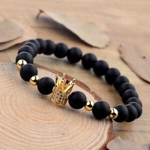8mm-Gold-Crown-CZ-Copper-Bead-Natural-Stone-Matte-Black-Charm-Men-039-s-Bracelets