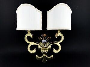 Applique lampada giglio fiorentino ottone lucido ventole in stoffa