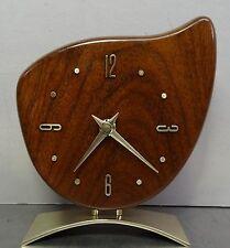 mid century design 50s 60s - Mechanische Teak Holz Tischuhr Tisch Uhr 50er 60er
