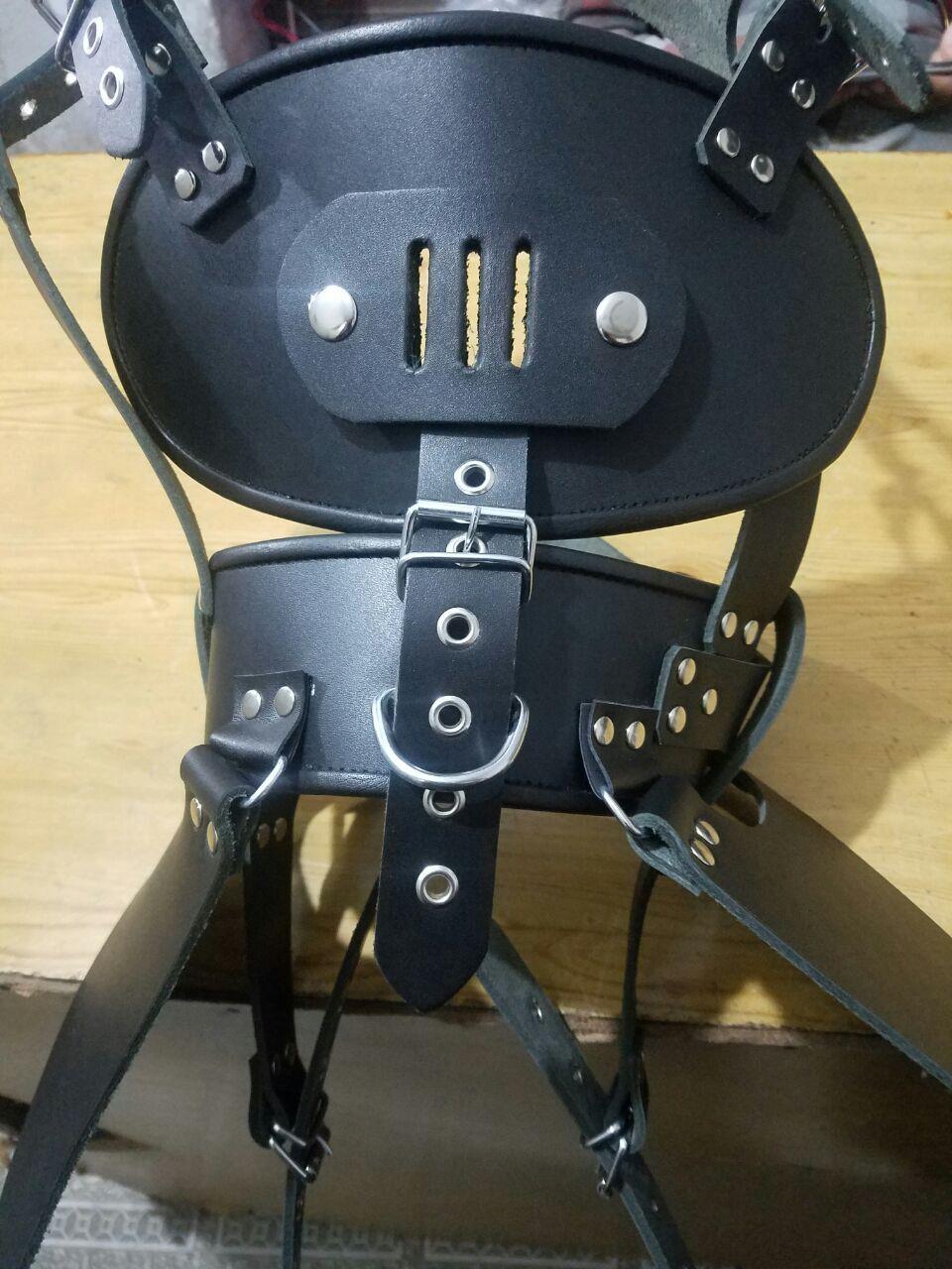 Men PURE Leather  Bondage hard head harness