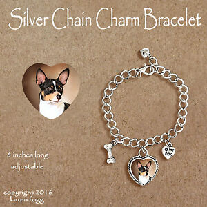Image Is Loading Rat Terrier Dog Charm Bracelet Silver Chain Amp
