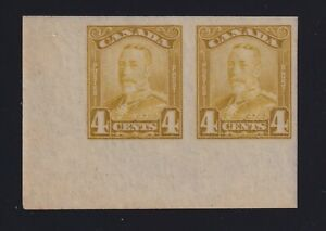 Canada Sc #152 (1929) 4c bistre King George V Scroll Imperforate Pair Mint VF H