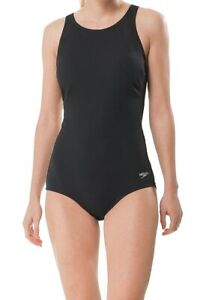 Speedo Womens Swimwear Black Size 12 Hydrobra High Neck Cutout One Piece $84 192