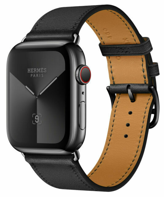 Apple Watch Series 5 Hermes 44mm Space Black Stainless Steel Case With Noir Swift Leather Single Tour Gps Cellular Mww92ll A For Sale Online Ebay