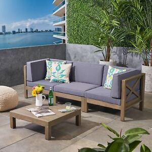 Details about Great Deal Furniture Keith Outdoor Sectional Sofa Set with  Coffee Table 3-Seate