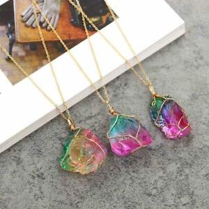 Modeschmuck-Kristall-Regenbogen-Stein-Chakra-Rock-Halskette-Anhaenger-Natur-B7I7