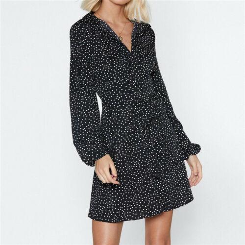 Damen Langarm Kleid Polka-dot V-neck Mini Kleid Sommerkleid Strandkleid Frühling