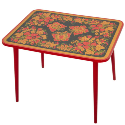 Wooden Khokhloma TABLE for Kids Playroom Bedroom Hohloma Russian Style Patterns