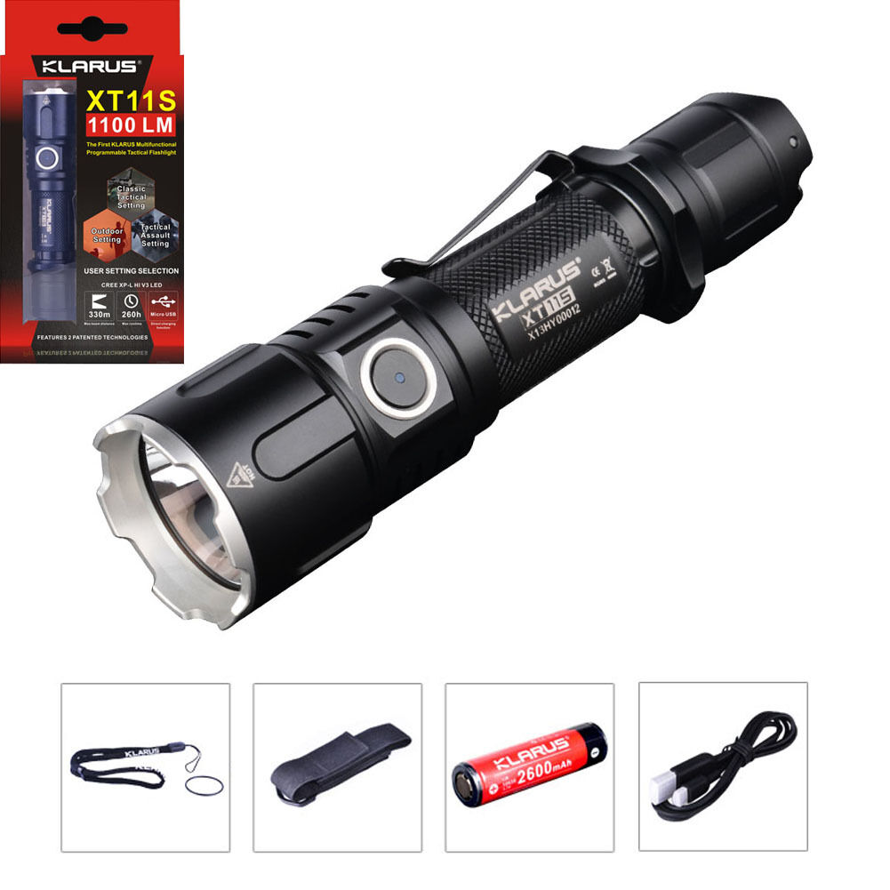 Tactical LED Flashlight 18650 Battery KLARUS XT11S 1100LM CREE XP-L HI V3 Torch
