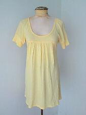 C&C California light yellow babydoll t-shirt mini cotton dress scoop neck S