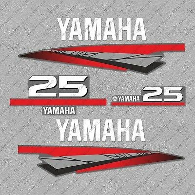 Yamaha 25 HP Two 2 Stroke Outboard Engine Decals Sticker Set reproduction 25HP