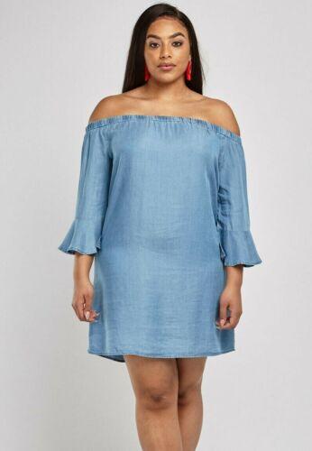 Tunika Gr.48+50 Schulterfrei Damen blau Bardotshirt Jeansoptik Shirt Top Bluse