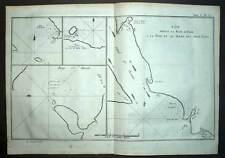 COTE DU CANADA BAIE D'YORK LAC OUAREAU Gravure du voyage de James COOK 1774