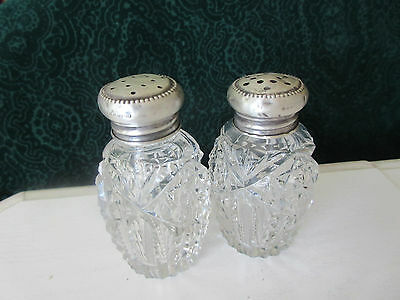 Vintage Salt & Pepper Shakers Sterling Silver Lids