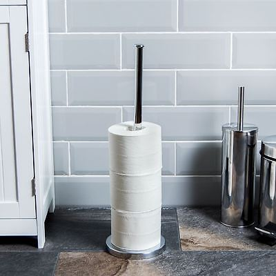 Toilet Roll Holder Paper Towel Chrome Floor Standing Store Stand Loo Storage