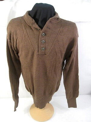 "US Army Man's Brown Sweater 100% Wool 5-Button Style Size Small (34""- 36"" chest)"