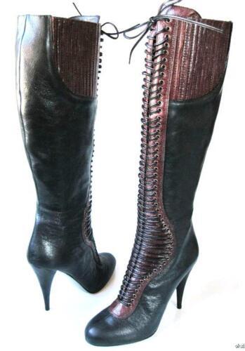 1.2K PRADA MIU MIU black/burgundy CORSET knee-high