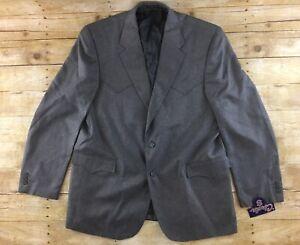 NWT-Circle-S-Western-Blazer-Jacket-48L-Gray-2-Button-Polyester-Cowboy-Rodeo