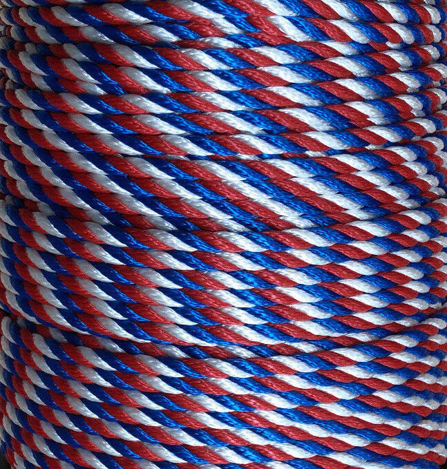 3 Strand Rope 8mm Red,White,bluee Floating Multifilament Various Lengths