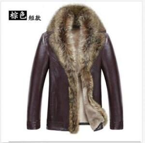 Men/'s Real fur collar genuine leather jacket coat trench outwear padded Warm