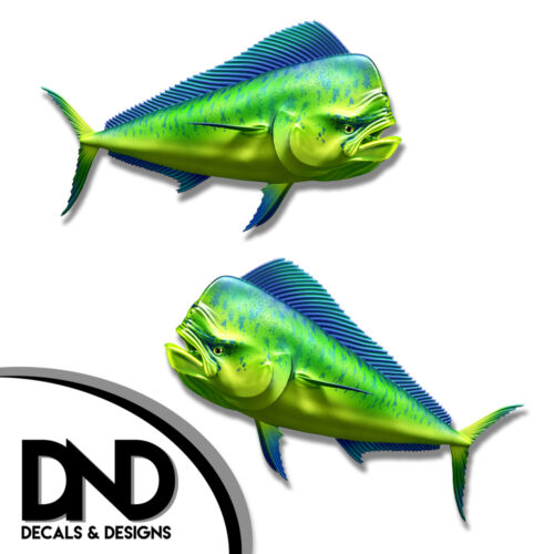 "Mahi Mahi Fish Decal Fishing Hunting Bumper Sticker /""3in SET/"" F-0380 D/&"