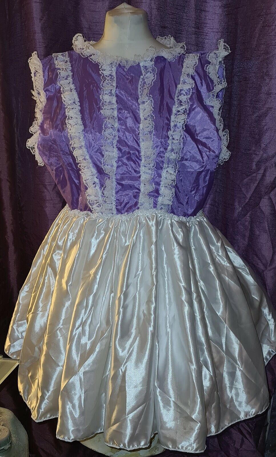 New purple +white satin frilly dress sissy maid cosplay baby style party quality