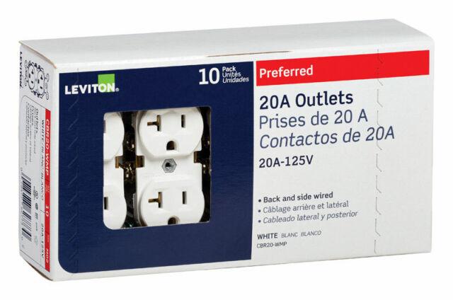Leviton 20 Amps 125 Volt Duplex White Outlet 5