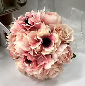 Silk wedding bouquet dusty pink rose peony anemone flowers image is loading silk wedding bouquet dusty pink rose peony anemone mightylinksfo
