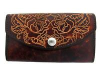 Women's Brown Leather Checkbook Style Wallet Pocketbook Clutch Roses Flowers