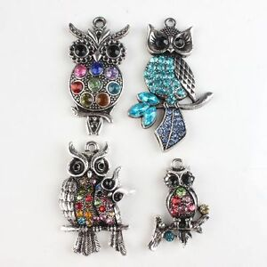 4x-Cute-Owls-Assorted-Silvery-Rhinestone-Charms-Alloy-Pendants-Findings-Charms-C