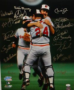 1983-Baltimore-Orioles-Autographed-16x20-WS-Champs-Cheering-Photo-JSA-W-Auth
