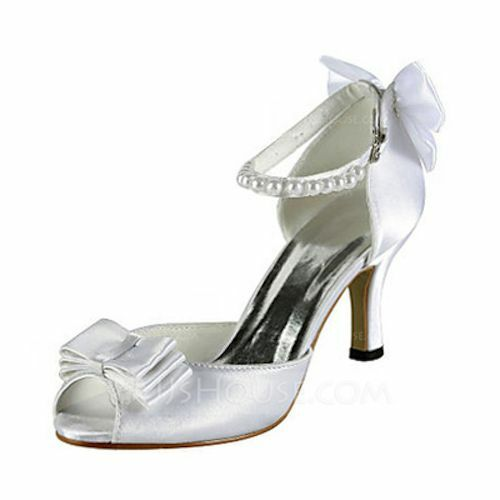 Women's Satin Peep Toe Sandals with Bowknot Pearl, Ivory, size 35 (6 US)