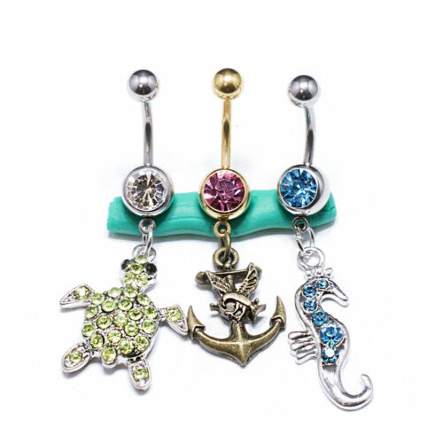 Belly Button Rings Set Of 3 Dangle Surgical Steel Navel Ring 14g