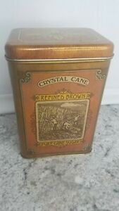 Vintage-Tin-Canister-Crystal-Cane-Brown-Sugar-Pure-Cane-Chein-1977-1978-Cheinco