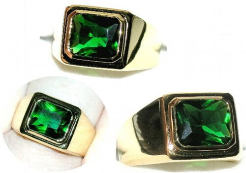 Men/'s 6c 9x9mm Emerald Ring  May Birthstone Gold Tone or Stainless Steel