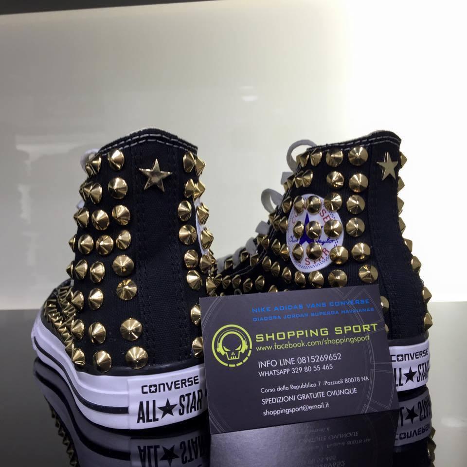 Converse All stella star Alte Nere personalizzate con borchie oro stella All full Clean 250755