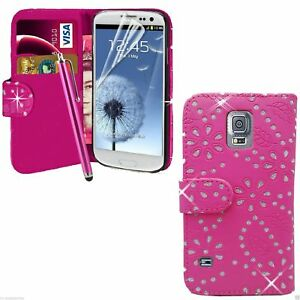 Pink-Diamond-Wallet-Case-Pouch-PU-Leather-Cover-For-Samsung-Galaxy-S5-mini-G800