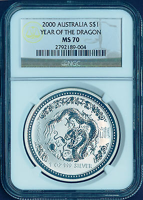 PERFECT 2000 P AUSTRALIA YEAR OF THE DRAGON 1 oz Bullion Coin NGC MS70