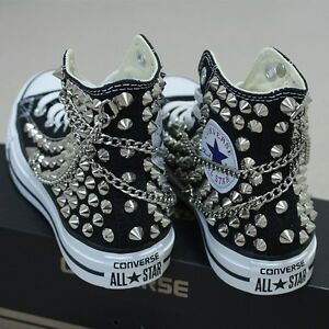 725042218d64 Image is loading Genuine-CONVERSE-All-star-with-studded-amp-chain-