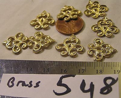 8 Vtg Brass Ornate Filigree 18 mm Findings Or use as a Connector Jewelry Craft