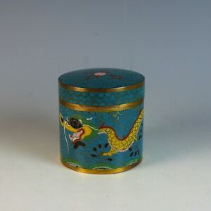 Old-Antique-Chinese-Cloisonne-Round-Box-with-Dragon