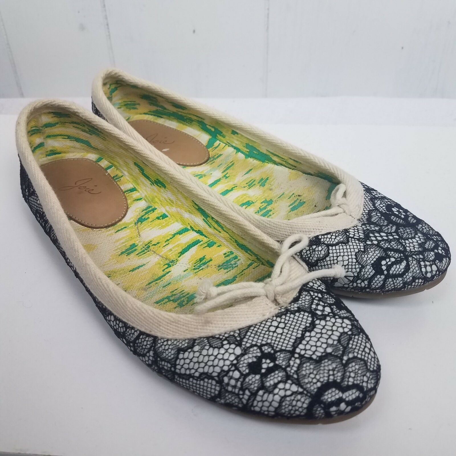 Joie Flats Sycamore shoes Size 37.5 lace canvas black cream Womens 7.5